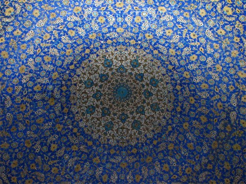 ceiling of imam mosque dome in a walking tour of Esfahan