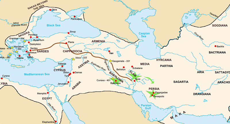 History of Achaemenian's on a Map