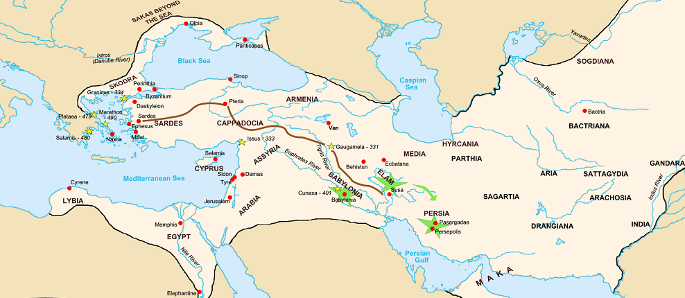 History of Achaemenians on a Map