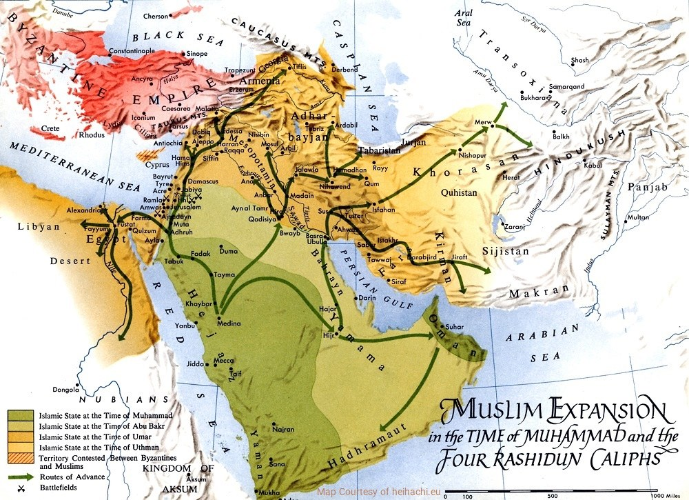 Map of Arabs' Invasion of Iran