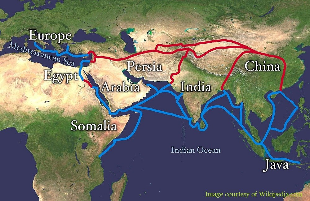 Silk Road Map through Iran