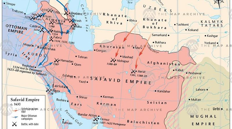Map Showing the History of Safavids