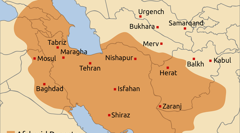 Map showing the history of Afsharids